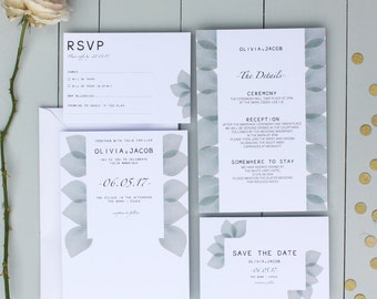 Floral Wedding Invitation, Botanical Wedding Invite, Eucalyptus Wedding Invitation Suite