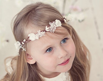 Flower Girl Crown, Flower Hair Wreath, Flower Girl Headpiece, Floral Crown, Ivory, Flower Crown, Weddings, Girl flower crown