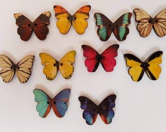 10 Beautiful Butterfly Buttons - Wooden