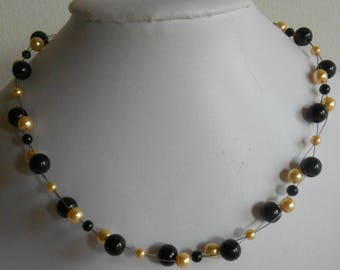 Bridal twist black and gold beads