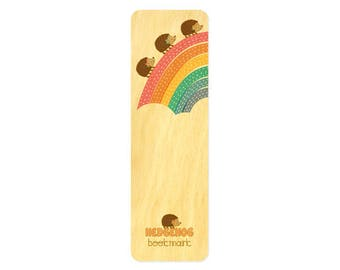 Marching Hedgehogs Bookmark - Real Birch Wood Bookmark - Book Lover - Hedgehog Lover - WM2132