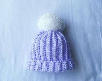 Baby Crochet Hat, Crochet Baby Beanie, Baby Crochet Pom Pom Hat, New Baby Gift, Lilac, Baby Crochet Pom Pom Hat. Pom pom, Baby Girl.
