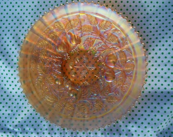 Vintage Northwood Carnival Glass Three Fruits Plate Platter Cherries Pears Leaves Marigold Bowl Iridescent Opalescent