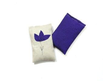 Violet purple scented sachet bag, lavender and rose sachet drawer freshener, gift for mom