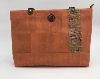 Eco-Friendly, Cork Handbag, Cork Bag, Cork Purse, Cork Tote, Zipper Bag