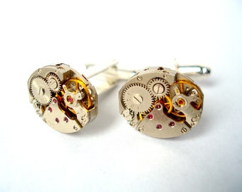 Watch Movement Cufflinks with Rubies - silver plated - Clock Cufflinks, Watch Cufflinks, Steam Punk Cufflinks
