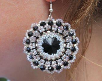 Black wife earrings gift circle earrings earrings girlfriend disk earrings boho jewelry ideas wow gift bridal shower gift