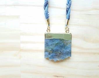 Blue Denim Stone Pendant Statement Necklace  Modern Bohemian Indigo Summer Long Lanyard Necklace