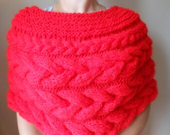 Cable Knitted Shawl Capelet Wedding Shrug Poncho Neck Warmer  Red Choose Color
