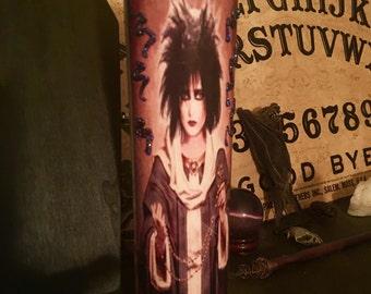Siouxsie Sioux glittery prayer candle~ goth~grunge