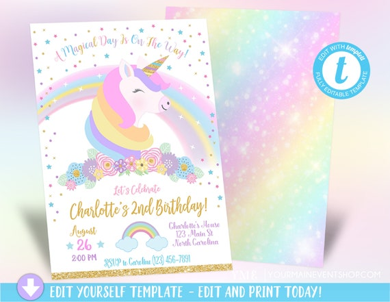Unicorn Birthday Invitation, Magical Unicorn Invitation, Rainbow Unicorn Birthday Invite Printable, Unicorn Party, Instant Download