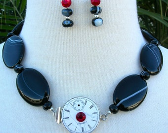 SALE - 50% off, Time Stops For No One, Sterling Silver Watch Clasp, Agate Beads, Swarovski Crystals, Statement Necklace Set by SandraDesigns