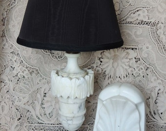 Vintage Tall White Alabaster Lamp, Italian Alabaster White Table Lamp,  Hollywood Regency, Tall