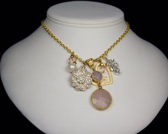 Pink Quartz and Gold Long Necklace