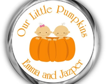 Little Pumpkins Baby Shower Hershey Kisses Stickers | Personalized Twins Baby Shower Sticker
