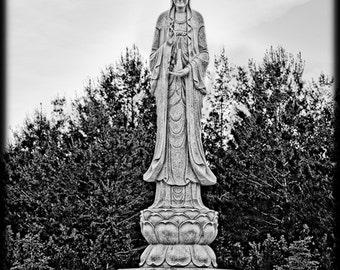 Black and White Buddha Standing  Avalokitesvara – the Bodhisattva Statue Budhism - Fine Art Photograph Print Picture