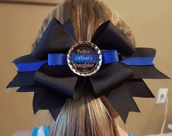 Police Officers Daughter - Thin Blue Line Hair Bow