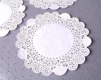 50 white paper lace Doilies