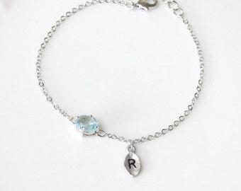 Initial bracelet, Aquamarine bracelet,  March Birthstone, Personalized bracelet