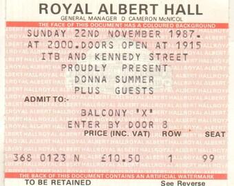 DONNA SUMMER Royal Albert Hall London England 22nd November 1987 UK Ticket Stub