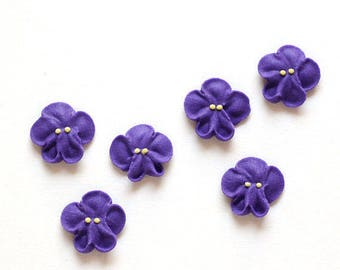 Small Royal Icing Violets to Decorate Cupcakes and Cakes, Violet Icing Decorations (12)
