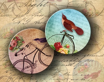Instant Download Digital Collage Sheet Birds and Bicycles 2.25 inch Circles for Pocket Mirrors - DigitalPerfection digital collage sheet 938