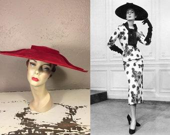 Yes Dahling Yes  - Vintage 1950 Lipstick Red Velvet Cartwheel Platter Wide Brim Hat w/Rhinestone Buttons