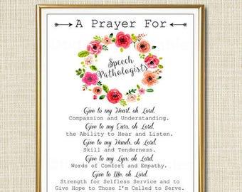 Speech Pathologist Prayer Art, SLP Gift, Religious Office Wall Art, Speech Therapist, Office Decor INSTANT DOWNLOAD Speech Language Teacher