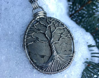 Pyrite Tree of Life Necklace