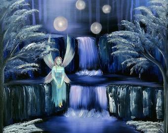 A Fairies Thoughts- 8x10 Art Print, Fine Art, Fantasy, Fairies, Oil Painting By GLuxArt, Wall Art, children room decor, fantasy wall art
