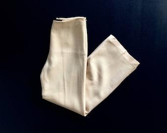 Vintage Anne Klein Virgin Wool Ecru Pants / High Waisted Wide Leg Women's m / l 30 x 32