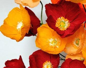 Paper Flowers- A Dozen Paper Poppies - Paper Flower Bouquet - Gift - Home Decor