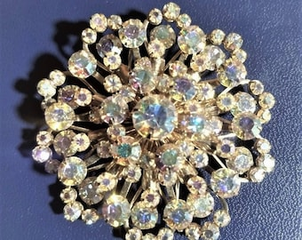 Large Aurora Borealis rhinestone costume jewelry brooch