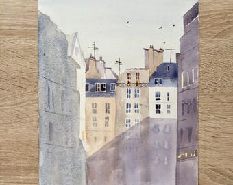 Original watercolor painting Paris France rooftops