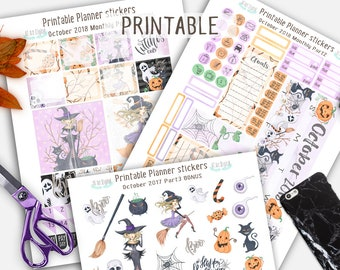 Monthly Planner Stickers, October Planner Stickers, October Monthly Kit, Autumn Stickers, Halloween Kit, Halloween Printable Stickers
