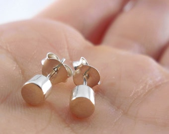 925 Sterling Silver Cylinder Barrel Stud Earrings, Cylinder Earrings, Barrel Earrings, Barrel Stud, Cylinder Stud, Geometric Jewelry,
