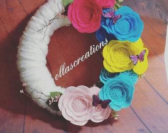 summer yarn wreath/summer felt wreath/flower wreath