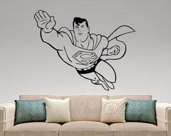 Superman Wall Decal Superhero Stickers Comics Art Home Interior Design  Nursery Decor Removable Sticker 1exx