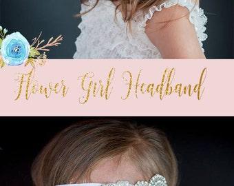 Flower Girl Headband / Headpiece..Rhinestone Headband...Gatsby Headband..Wedding Headband..Bridal Headband / Bridesmaid Headpiece / Baby