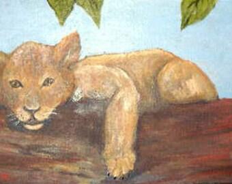 Original wildlife, acrylic painting, Lion Cub, artwork on masonite, art for sale, African scene