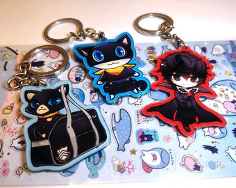"Persona 5 Joker Morgana Bag Acrylic Charms | Double Sided 2.3"" | Phantom Thieves Akira Kurusu"