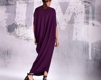 Cocktail dress,Women Dress, Party dress, Asymmetric dress, Purple Maxi Dress, Casual Dress, Loose Dress, Evening Dress, UrbanMood  UM-192-VL
