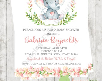 """Custom Printed 4.25X5.5"""" Watercolor Girl Elephant Baby Shower Invitations, envelopes included"""