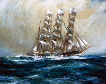 "The Clipper Ship ""Ross-Shire"" Painting by Jack Spurling Art Reproduction"
