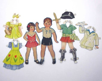 Vintage Paper Dolls Cute Little Girl Named Kay Boy Named Irwin and 5 Outfits Including Pirate Costume
