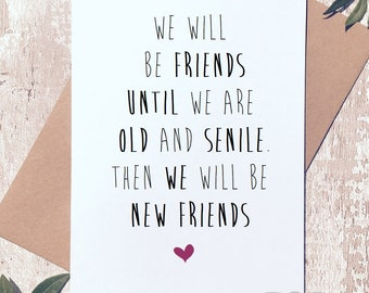 Lovely Funny Friend Card, Funny Birthday Card, Best Friends Forever, Friendship  Card, Friend
