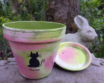 Cat Flower Pot - Rustic Vintage Look - Cat Lover Gifts - Painted Flower Pot