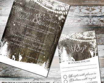 Winter Snowflake Wedding Invite, Winter Deer Wedding Invite, Rustic Deer Wedding Invite, Deer Snowflake Wedding Invite DIY Wedding Printable