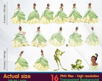 Princess Jasmine clipart -  Princess and the frog - clipart Digital 300 DPI PNG Images, Photos, Scrapbook, Cliparts - Instant Download