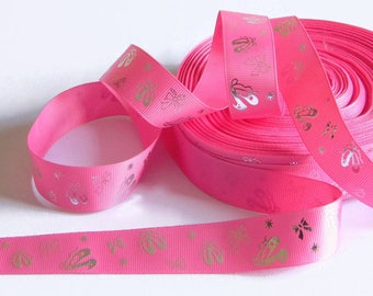 """Ballet Grosgrain 7/8"""" Ribbon 5 yards of Pink w/ Silver Foil Ballet Slippers DIY Hair Bows Costume Dance Recital Bows and Stars Competition"""